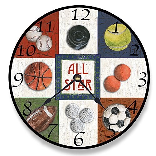 (Stupell Home Décor 9 Patch All Star Sports Wall Clock, 12 x 0.4 x 12, Proudly Made in USA)
