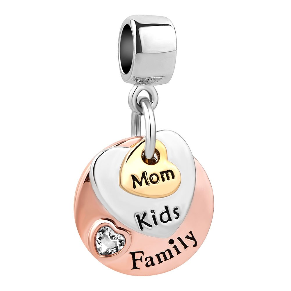 Roy Lopez Mom Mother Kids Family Heart Love Dangle Charms Beads Fits Bracelets