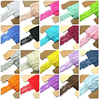 Stretch Lace Fabric Elastic 3 Inches Wide Lace Trims for Headbands Garters Garment Sweing DIY Craft Variety Pack Mix Colors As Pictured 20 Colors 1 Yard Each