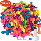 Toys : Hibery 500 Pack Water Balloons with Refill Kits, Latex Water Bomb Balloons Fight Games - Summer Splash Fun for Kids & Adults