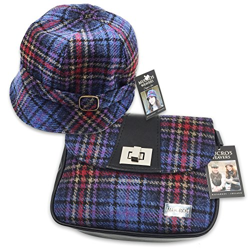 Mucros Flapper Hat and Sarah Bag Set (Purple Plaid) by Mucros Weavers
