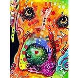 ZEJEUER DIY 5D Diamond Painting Colorful Dog Round Diamonds Embroidery Set Home Décor ZS017 (Design 1)