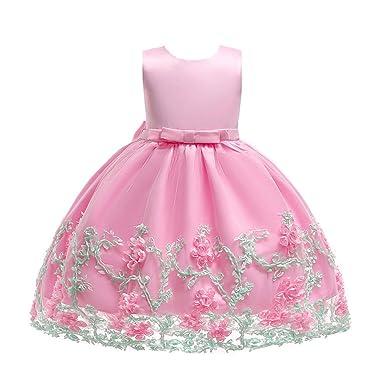 a573c108b Lonshell Flor bebé niñas Vestido de Princesa Vestidos sin Mangas niña de  Fiesta Ropa Formal Vestidos Linda de Boda niña 2-7 Años  Amazon.es  Ropa y  ...