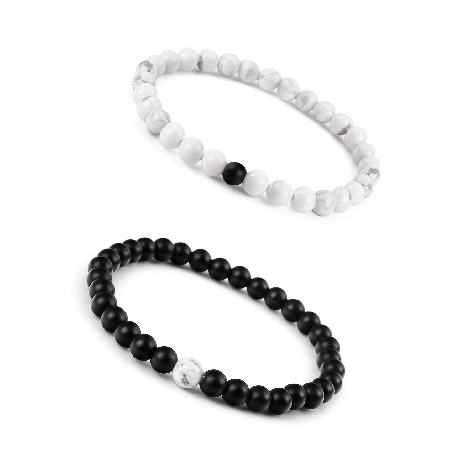 Paxuan Mens Womens Couples His And Hers Bracelet Black Matte Agate &  Imported White Howlite Beads