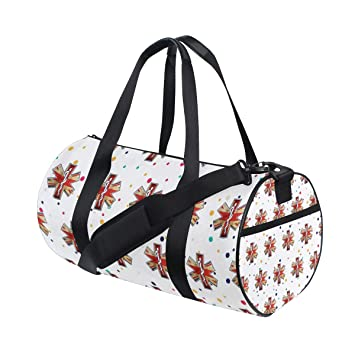 Amazon.com   Personalized England Ems Gym Duffel Bag- Training Duffle Bag  DKRetro Round Travel Sport Bags for Men Women   Sports Duffels c87c6d67ff
