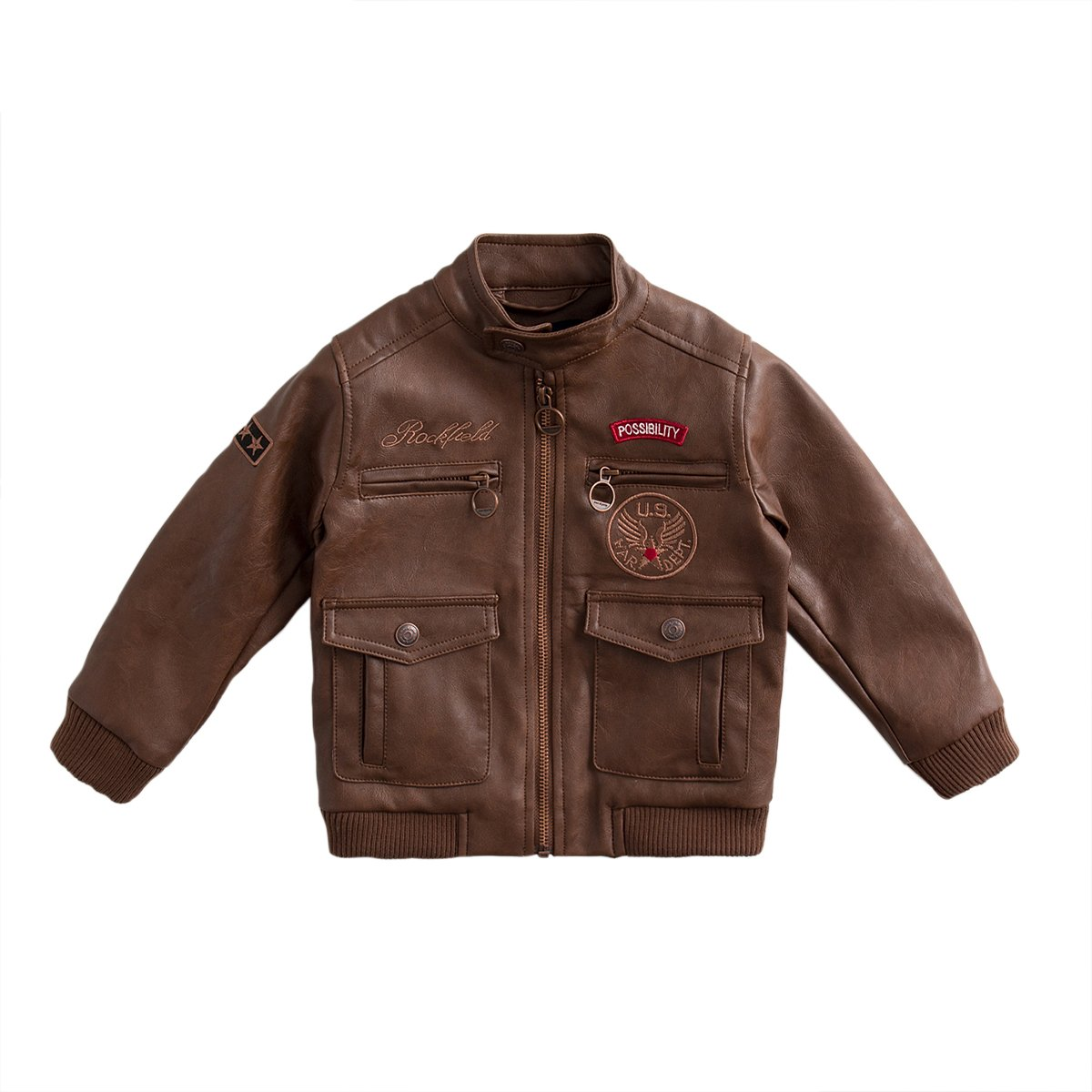 marc janie Baby Toddler Boys' Military Flight Leather Bomber Jacket Coffee 24 Months