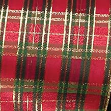 """Red, Green, and Gold Christmas Tartan Wired Craft Ribbon 3"""" x 20 Yards"""