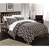 Chic Home 3-Piece Elissa Pleated Contemporary Duvet Set, Queen, Brown