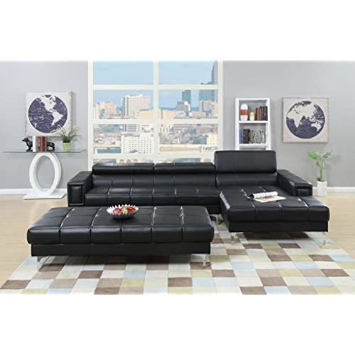 3Pcs Modern Contemporary Bonded Leather Sectional Sofa with Oversize Ottoman (BLACK)