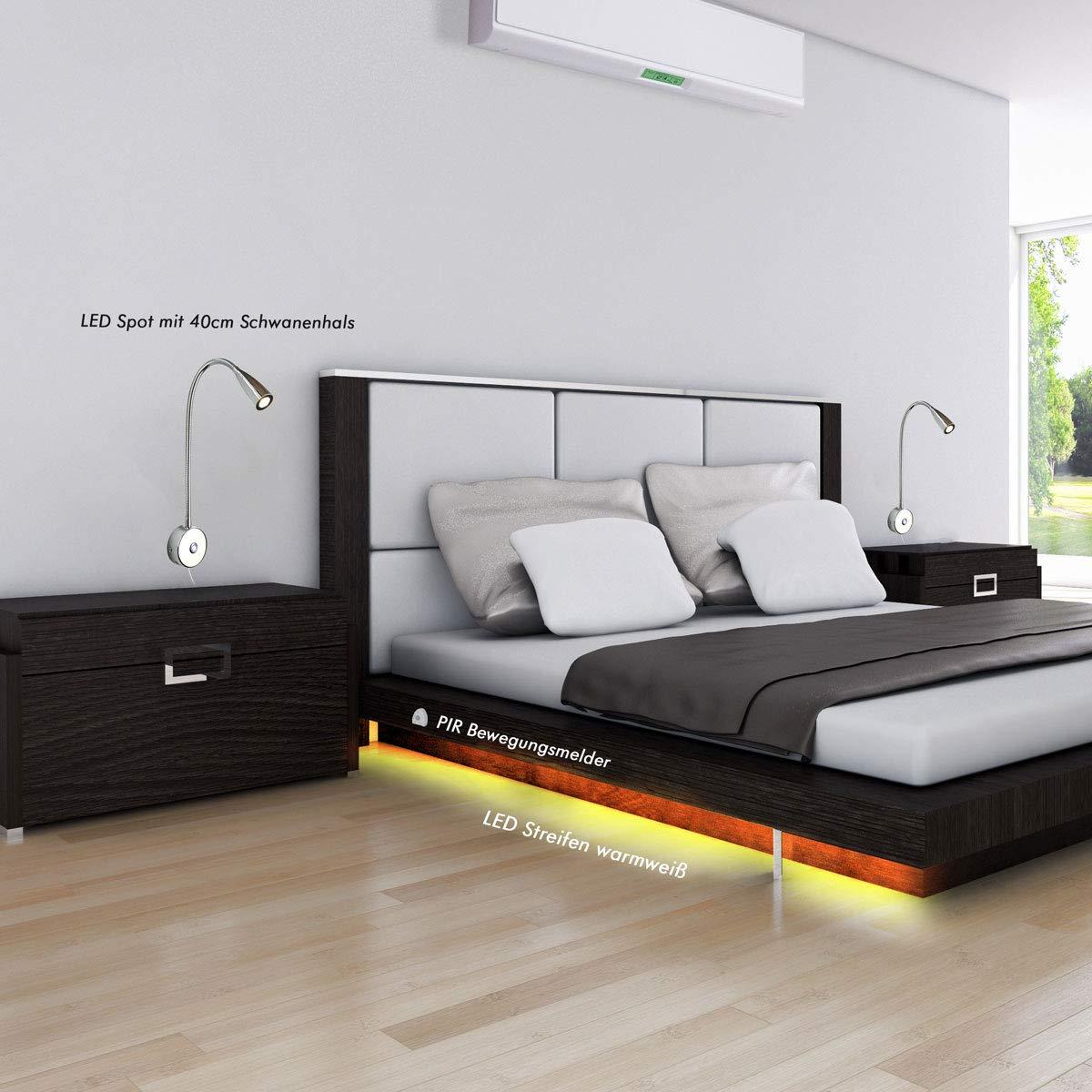 VBLED® Bettleuchte Leselampe 2,2W flexilber Schwanenhals 40cm (2,2W + 1,5m LED Streifen + PIR Sensor)