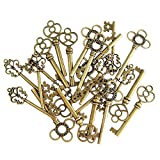 Mixed Set of 30 Vintage Old Look Skeleton Keys Fancy Heart Bow Necklace Pendants (Bronze)