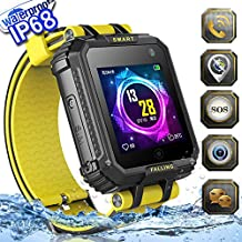 2019 UPGRADES Waterproof Kids Smart Watch Phone GPS Tracker for Boys Girls Christmas Gifts Game Watch with 1.54'' Touch Screen SOS Camera Cell Phone Fitness Tracker Shock-absorbing Smartwatch Birthday