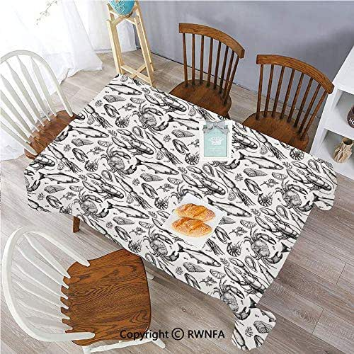 Rectangular Tablecloth Sea Animals a Vintage Illustration of Hand Drawn Seafood Pattern Polyester Oblong Table Cover for Wedding Party Restaurant Buffet Table (52x70 inch) Black and White