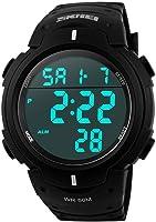 SKMEI Men's Simple Design Digital LCD Screen Black Rubber Band Sport Wrist Watch