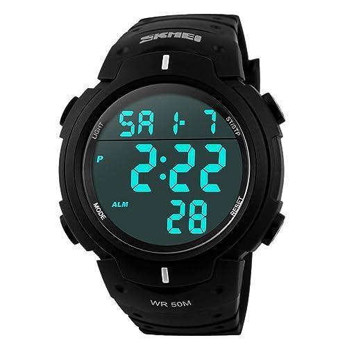 SKMEI Mens Simple Design Digital LCD Screen Black Rubber Band Sport Wrist Watch