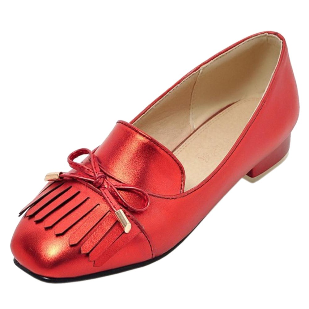 JOJONUNU Women Classics Flats Pumps Slip On B07924PZX4 7 US = 24.5 CM|Red