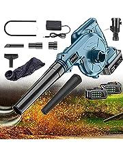Draadloze bladblazer en vacuüm 2-in-1 21v elektrische handheld elektrische blazer met lithiumbatterij en oplader voor het blazen van bladreiniging, stof, kleine prullenbak auto hoekreiniging, 21V+1 batterij