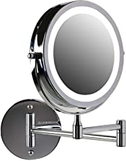 Ovente Battery Operated LED Lighted Wallmount Vanity Makeup Mirror, 1x/10x Magnification, 7.0 inch, Polished Chrome