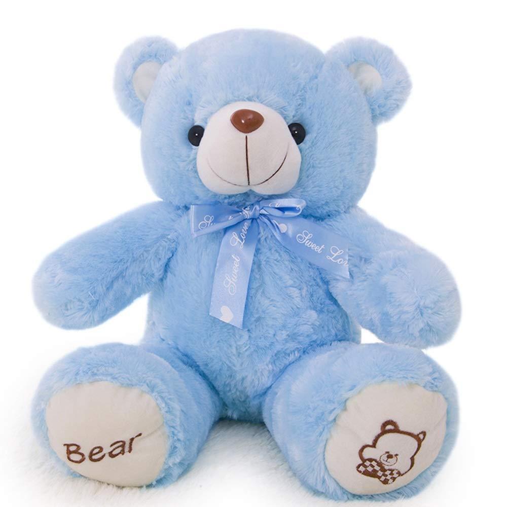 Tie Teddy Bear Figurine, 60-80-100-120-140cm Color Pajarita Oso de Peluche de Juguete, Enviar Novia cumpleaños Regalo de San Valentín (Color : Azul, Tamaño : 100cm)