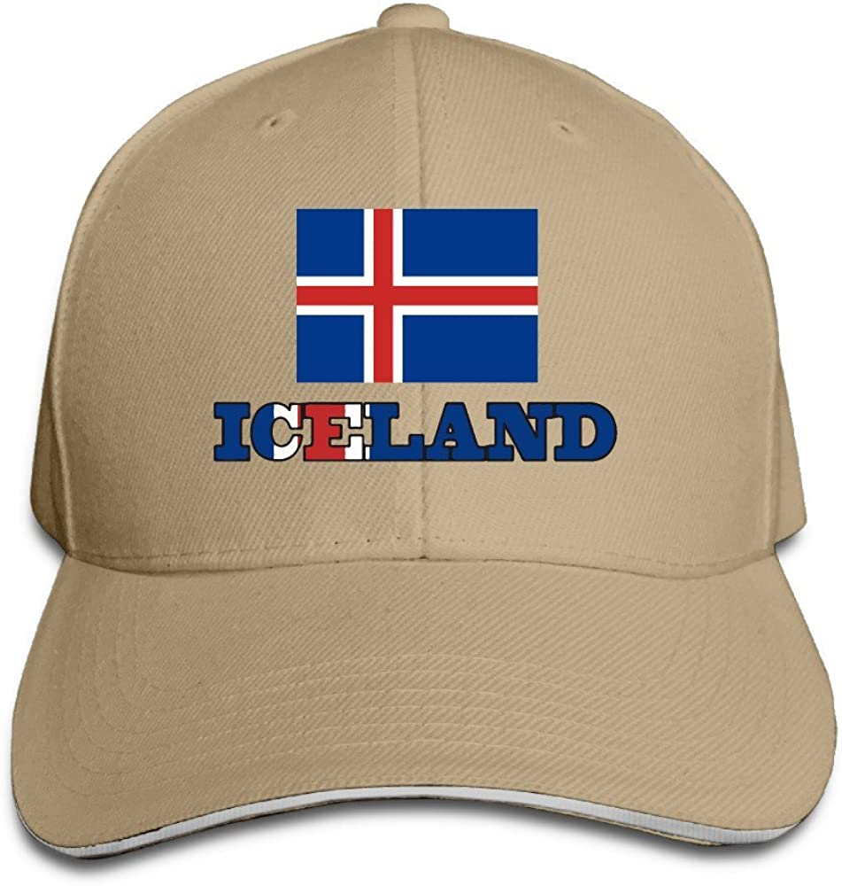 Iceland Flag Iceland Wordart Man Woman Sandwich Baseball Cap White (8 Colors)