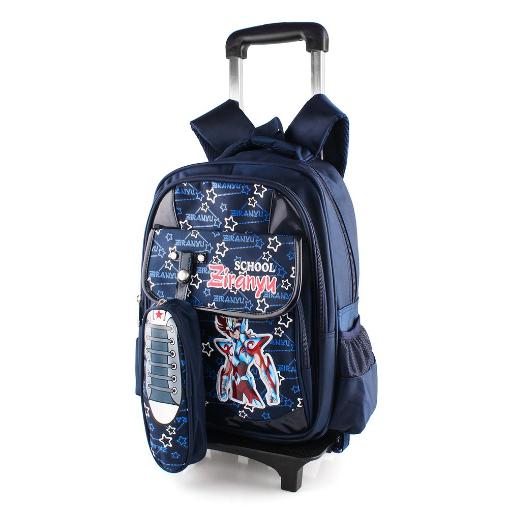 9e15d24f0c Trolley School Bags Backpack With Wheels Waterproof Nylon For Boys Girls  Pupils (Blue)  Amazon.co.uk  Luggage
