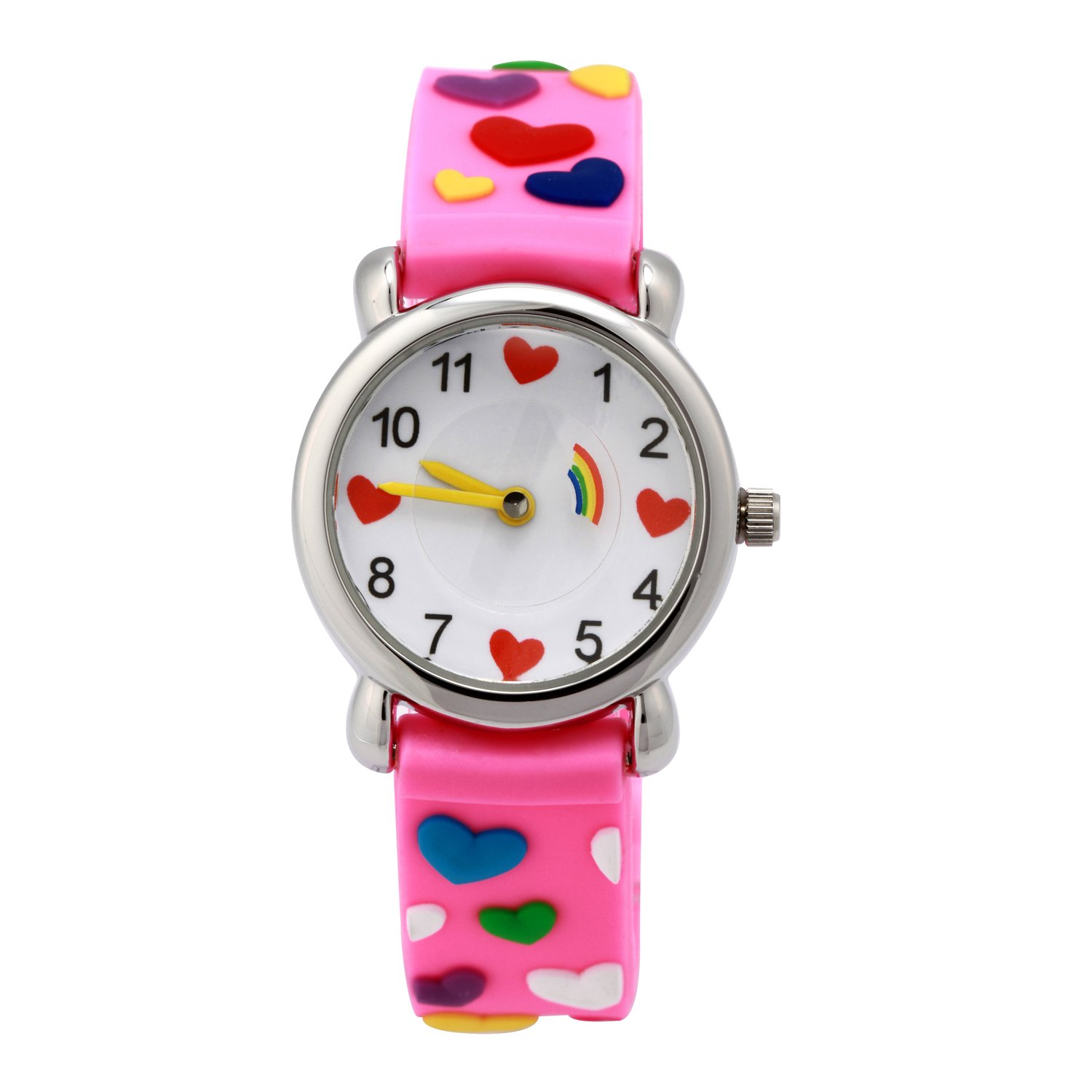 Kids Cartoon Watch, 3D Waterproof Children Wristwatches Cartoon Kids Wrist Watch With Toddler Children Great For Boy And Girl Ages 3-7 Time Teacher (3D Love Rose Red)