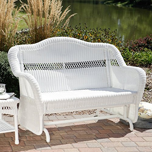 Coral Coast Casco Bay Resin Wicker Outdoor Glider Loveseat (Chi Factory Rattan Wing)