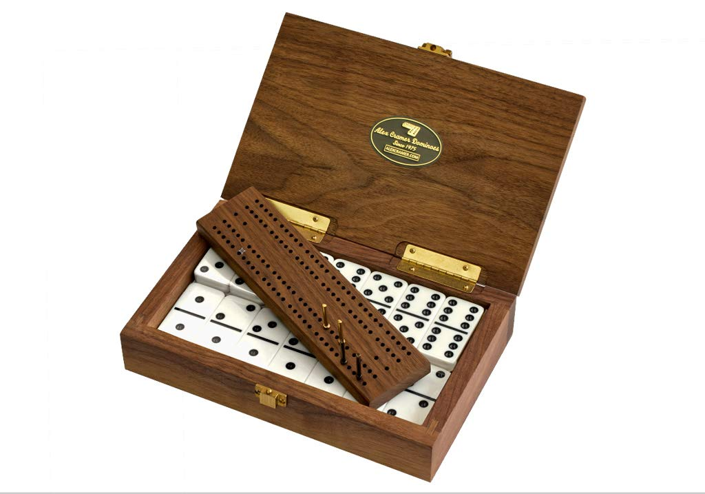 Alex Cramer Company Club 52'' Luxury Domino Set with Black Walnut Case - Professional Tournament Domino Set - 28 Indestructible Double-Six Dominoes (Non-Customizable)