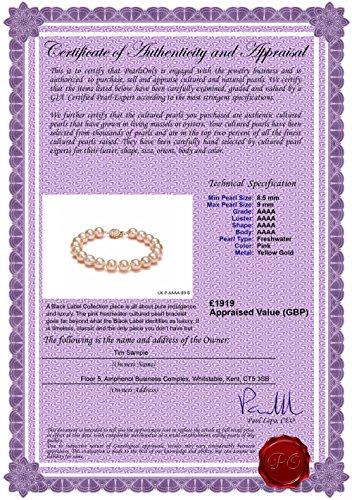 Rose 8.5-9mm AAAA-qualité perles d'eau douce 585/1000 Or Jaune-Bracelet de perles