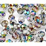 50 pc Czech Perle Sfaccettato vetro, Fire-Polished Rotondo 6mm Crystal Vitrail