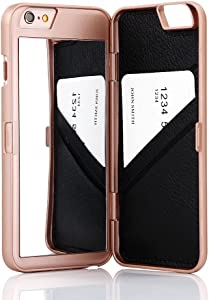 iPhone 6S Case, iPhone 6 Case, Hidden Back Mirror Wallet Case with Stand Feature and Card Holder for Apple iPhone 6 / iPhone 6S 4.7 inch (Rose Gold)
