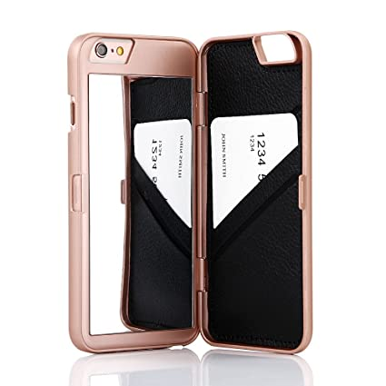 mirror phone case. iphone 6 /6s case,wetben hidden back mirror wallet case with stand feature and phone g