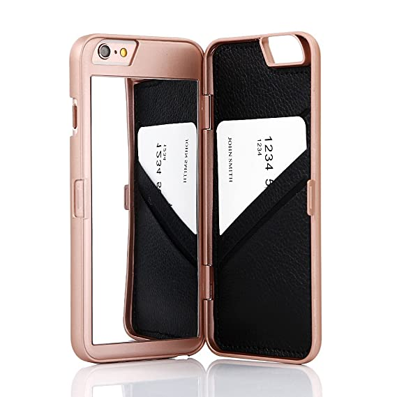 buy popular a176d 76c9f W7ETBEN iPhone 6S Case, iPhone 6 Case, Hidden Back Mirror Wallet Case with  Stand Feature and Card Holder for Apple iPhone 6 / iPhone 6S 4.7 inch (Rose  ...
