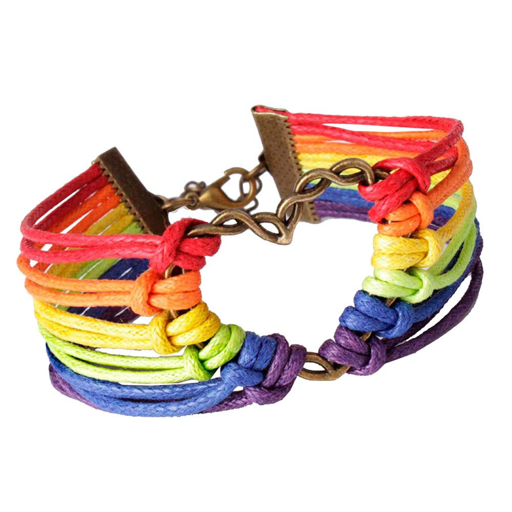 Friendship String Bracelets Fashion Colorful Handmade Multiple Strand Hemp Cord String Surfer Bracelet Rainbow Flag Gay Pride LGBTQ Charm Braided Love Heart Bracelet Bangle (Rainbow)