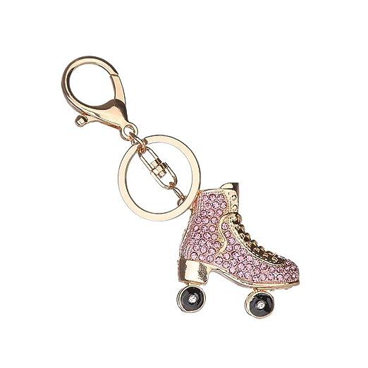Llavero de Mujer Llavero Diamante Accesorio Colgante - Patines Rosas