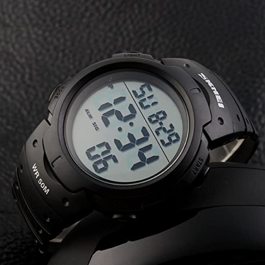 Amazon.com: Simple Army Military Police Officer Watch Black Digital Large Numbers with Light Calendar: Watches