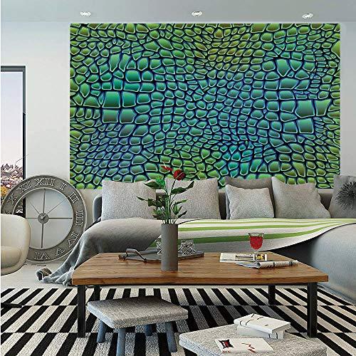 - Abstract Huge Photo Wall Mural,Alligator Skin African Animal Crocodile Reptile Safari Wildlife Vibrant Artwork,Self-Adhesive Large Wallpaper for Home Decor 108x152 inches,Green Blue