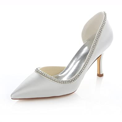 Emily Bridal Ivory Cut Out Bridal Pumps Pointed Toe Satin Wedding Heels for  Women (EU35 d0f06a2648879
