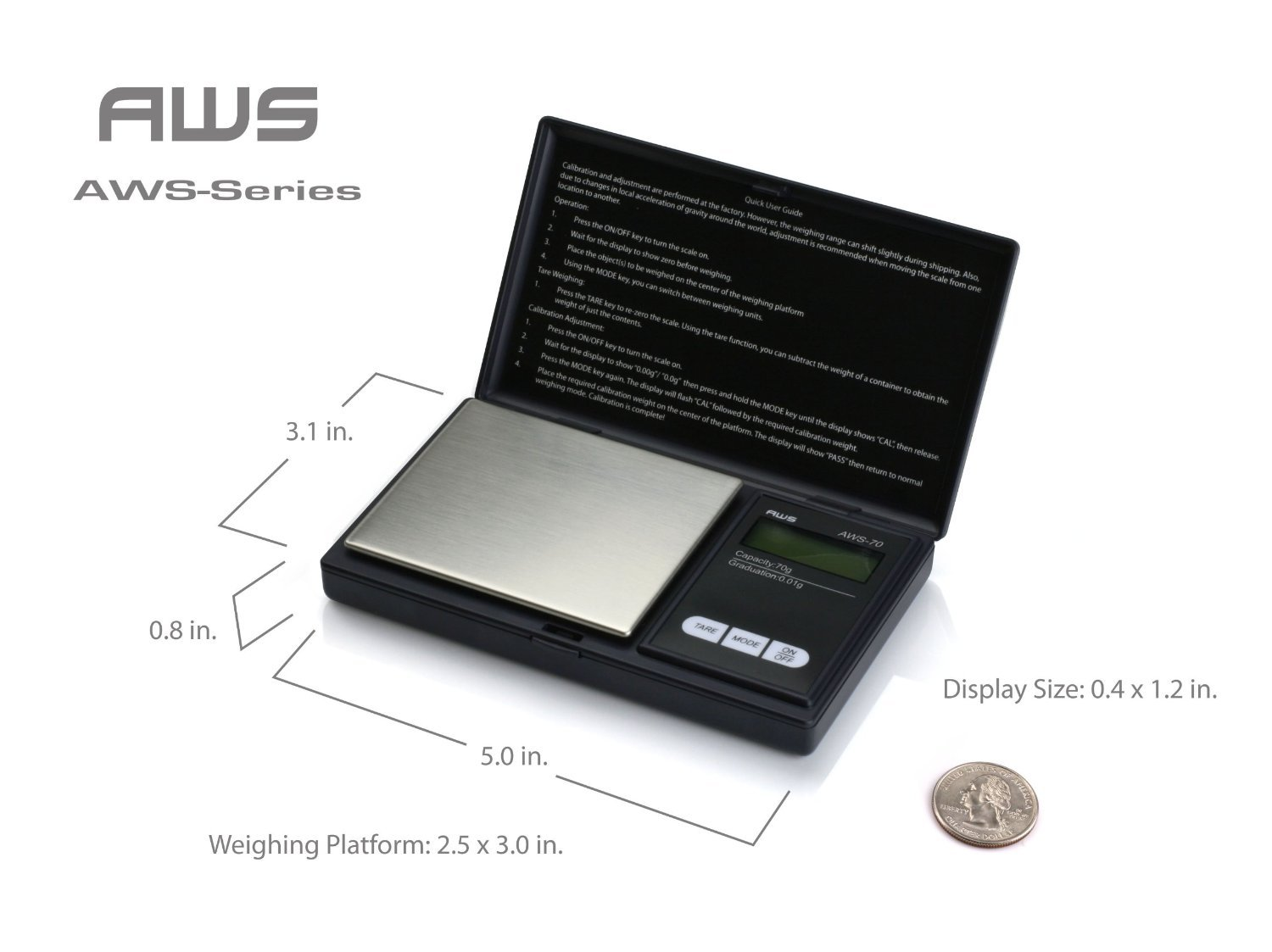 American Weigh 100G X 0.01G Digital Scale With Seaside 100 G Stainless Steel Calibration Weight by Seaside American Weigh
