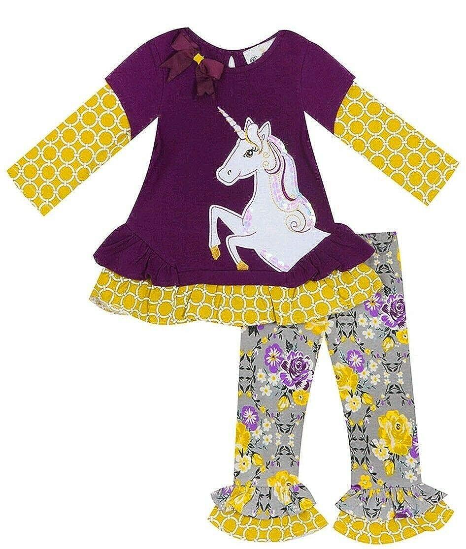 Rare Editions Girls 2T-6X Purple Floral Unicorn Top Legging Pant Set