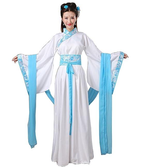 ZENGAI Disfraz Antiguo Han Ropa China Dinastía Tang Real Foto Clásico Danza Guzheng Rendimiento Ropa Femenino, 5 Opciones De Color (Color : Azul, ...
