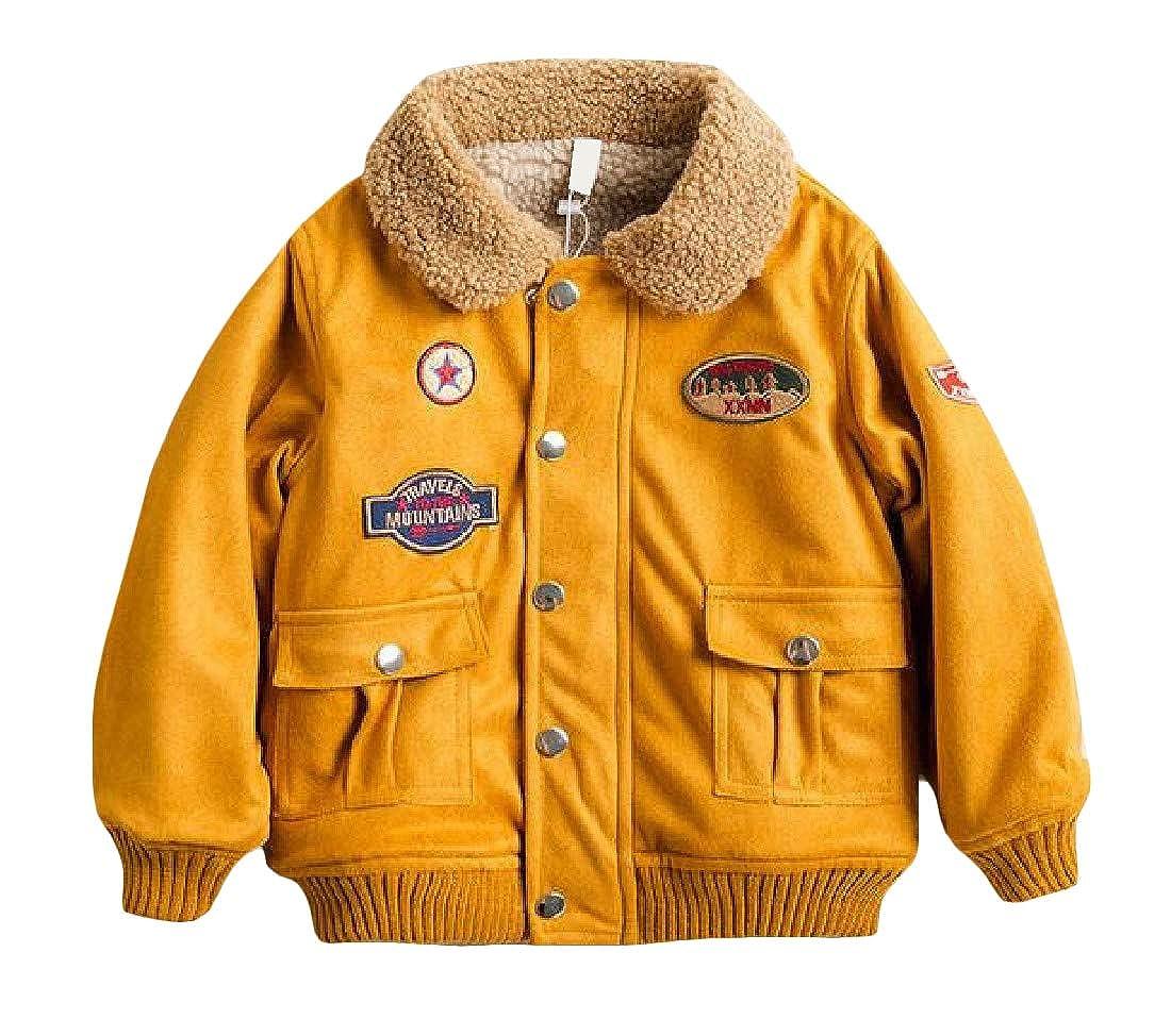 Pluszing Boys Coat Casual Fleece Lapel Collar Outdoor Thick Jackets