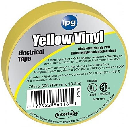Intertape 4116 60/' All Weather Colored Electrical Marking Tape Yellow