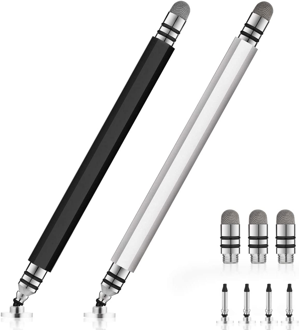 UROPHYLLA Stylus Pens, Disc Stylus Touch Screen Pen, Capacitive Stylus Pens for iPad, iPhone, Tablet, Laptops and Other Touch Screens with 4 Discs and 3 Fiber Tips (Black/Silver)