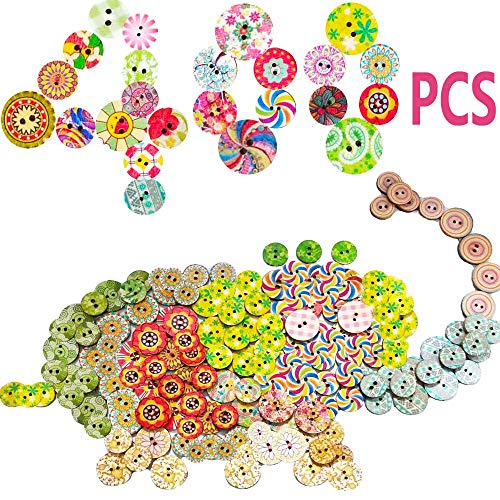 400PCS Assorted Mixed Colors Wooden Buttons 2 Holes,Random Flowers Decorative Round Wood Button for DIY Sewing Crafts,15mm and 20mm