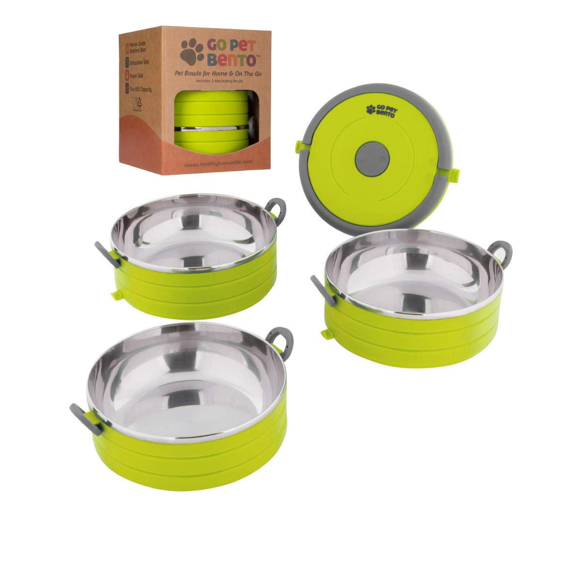 Healthy Human Portable Dog & Pet Travel Bowls with Lid - Human Grade Stainless Steel - Ideal for Food & Water - Green - 3 Bowl Set by Healthy Human
