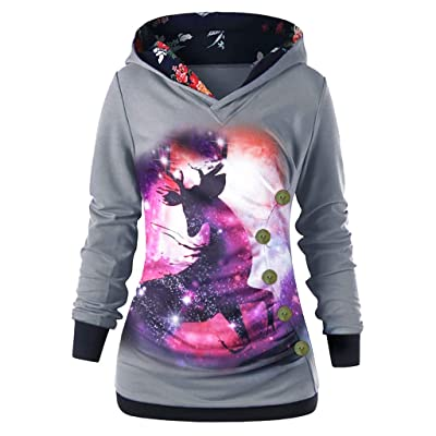 Women Hoodies Pullover,Frunalte Long Sleeve Hooded Coat with Button Printed Tops Jacket Autumn Sweatshirt: Clothing
