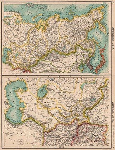Asia Map Siberia.Amazon Com North Central Asia Siberia Japan Korea Khiva Bukhara