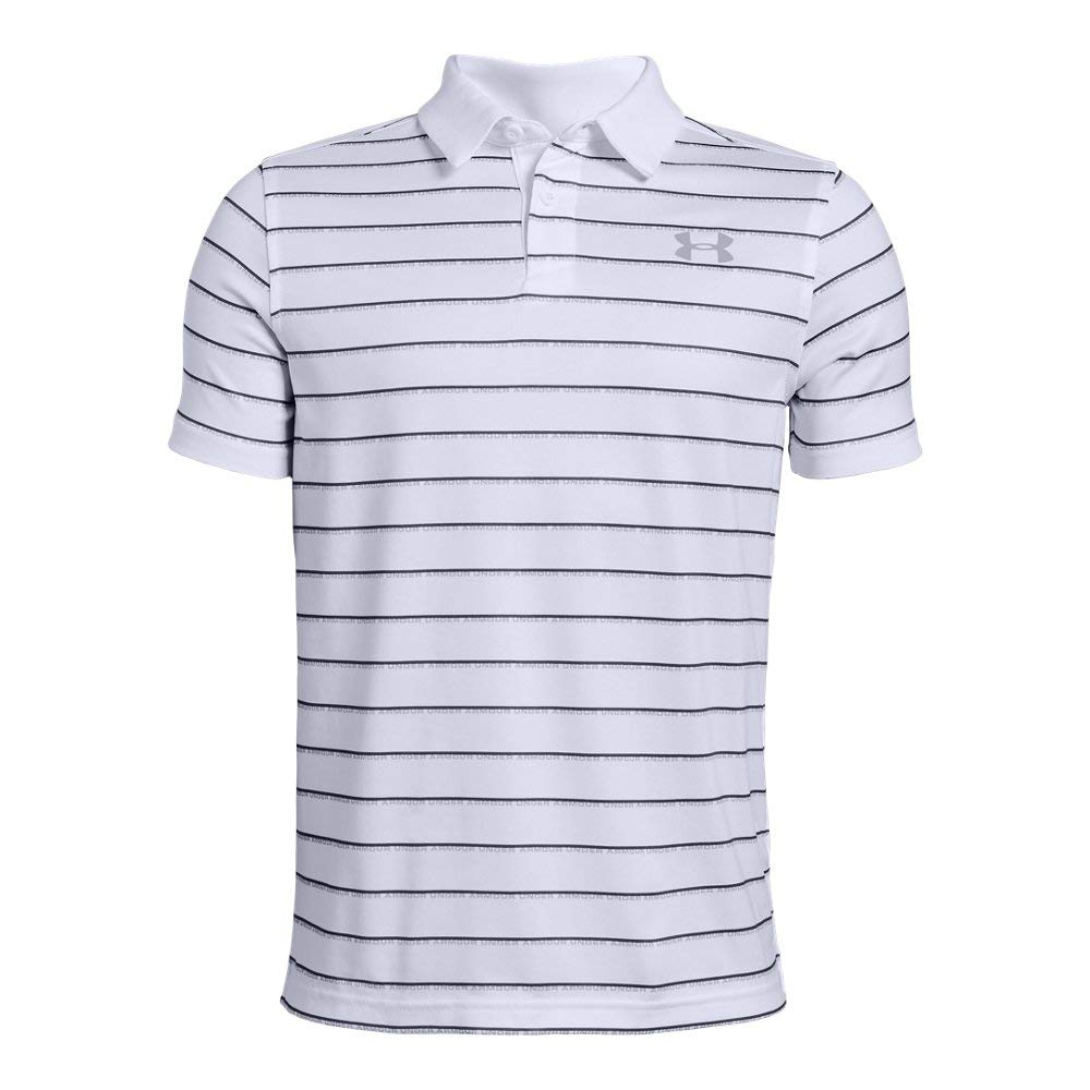Under Armour Tour Tips Stripe Polo, White//Mod Gray, Youth X-Large by Under Armour