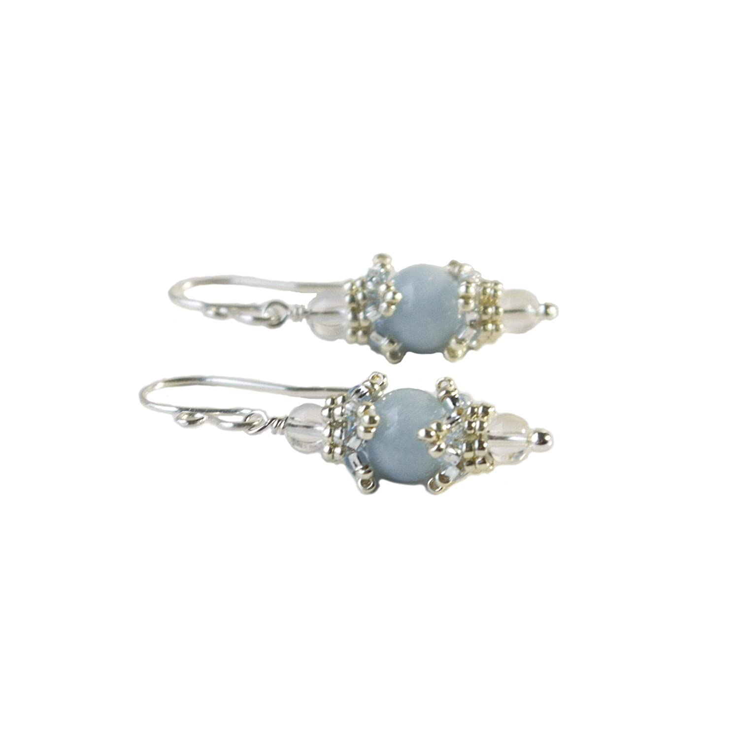 Handmade silver sterling earrings with natural angelite  stone.